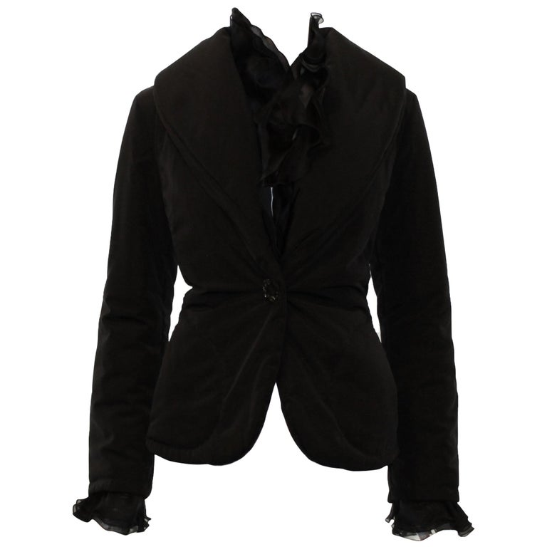 Valentino Black Puffer Jacket with Ruffle Collar & Cuffs For Sale