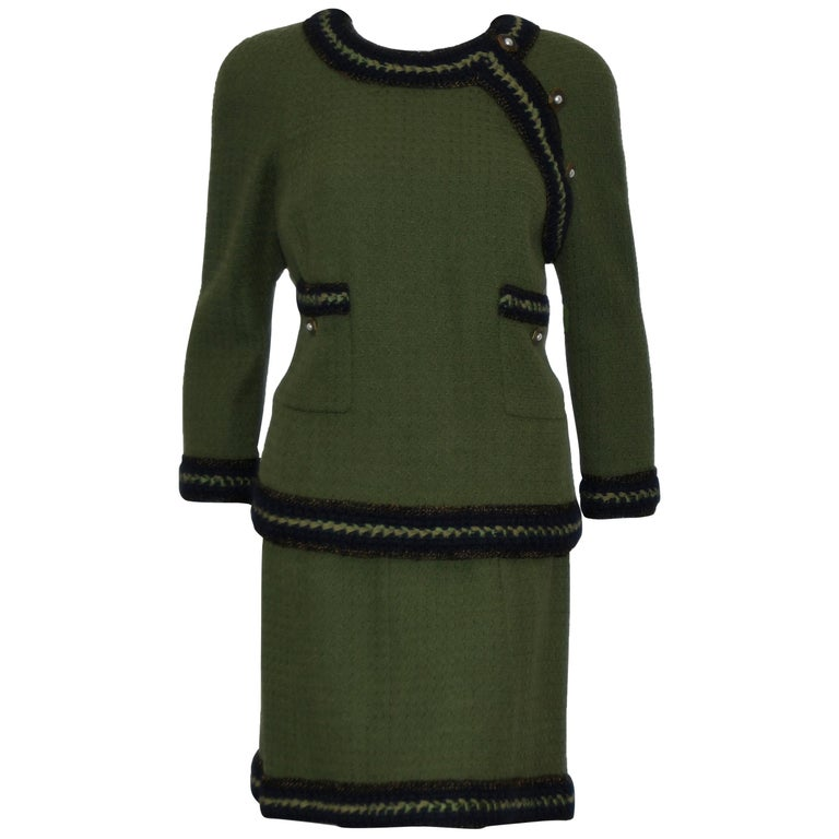 Chanel Olive Green Skirt Suit w/ Navy Blue Trim For Sale