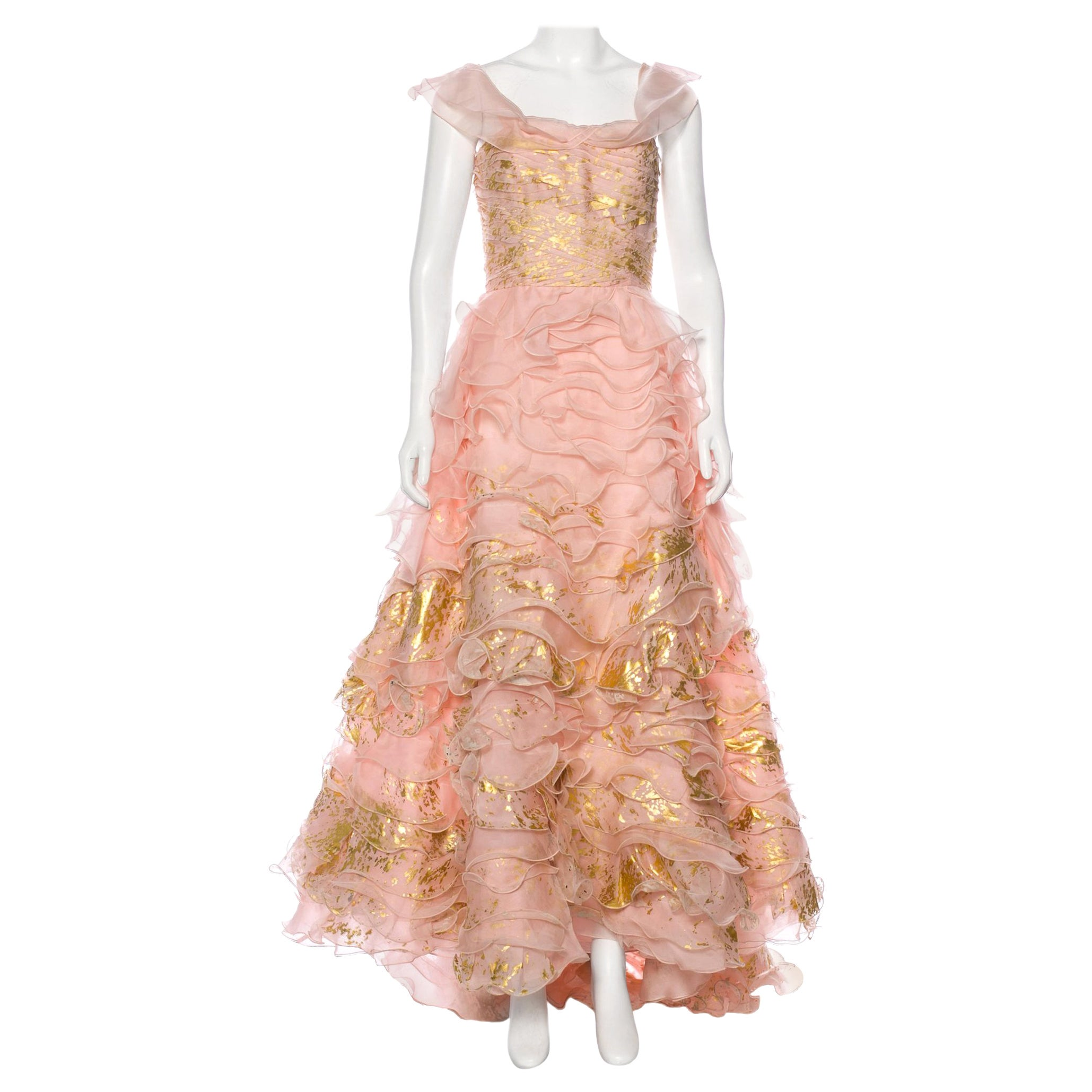 Museum New Oscar De La Renta S/S 2011 Collection Silk Gold Leaf Painted Dress
