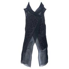 Peachoo + Krejberg Black Silk / Linen Beaded Handcrafted Semi Sheer Top Vest