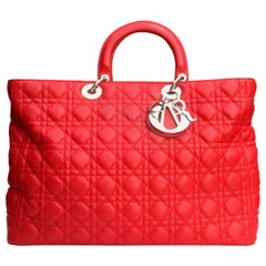 Dior Red Leather Lady Dior Extra Large Bag