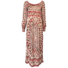 Extraordinary 1960s Emilio Pucci Silk Jersey Intricate Swirl Print Dress