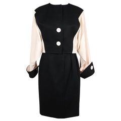 Andrea Odicini Vintage Suit Black White Jacket and Skirt Set Size 44