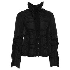 Blumarine Goose Down Puffer Jacket W/Lace Trim & Beads