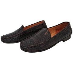 Tod's Dark Brown Mocassins in Wild Crocodile Leather. Size 40