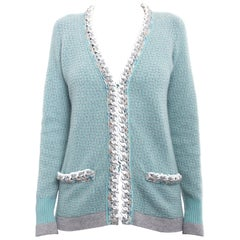 Chanel 14C Light Aqua Green Cashmere Cardigan with White Chain Trim - 6