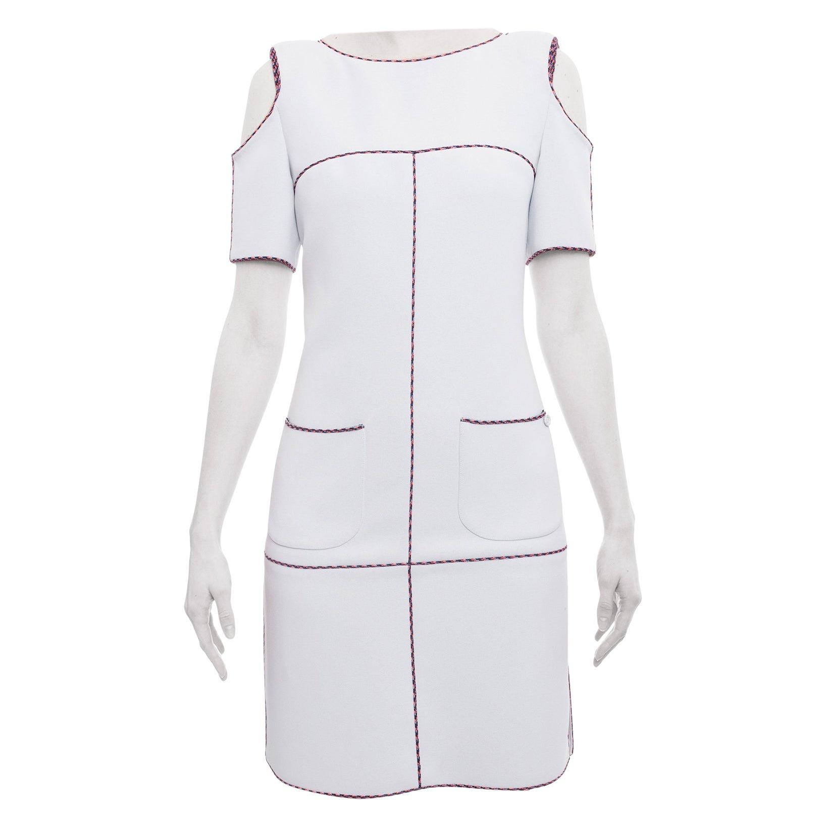 Chanel 14P Light Grey Cold Shoulder Runway Dress - 6