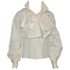 Chanel Ivory Silk Shantung Blouse