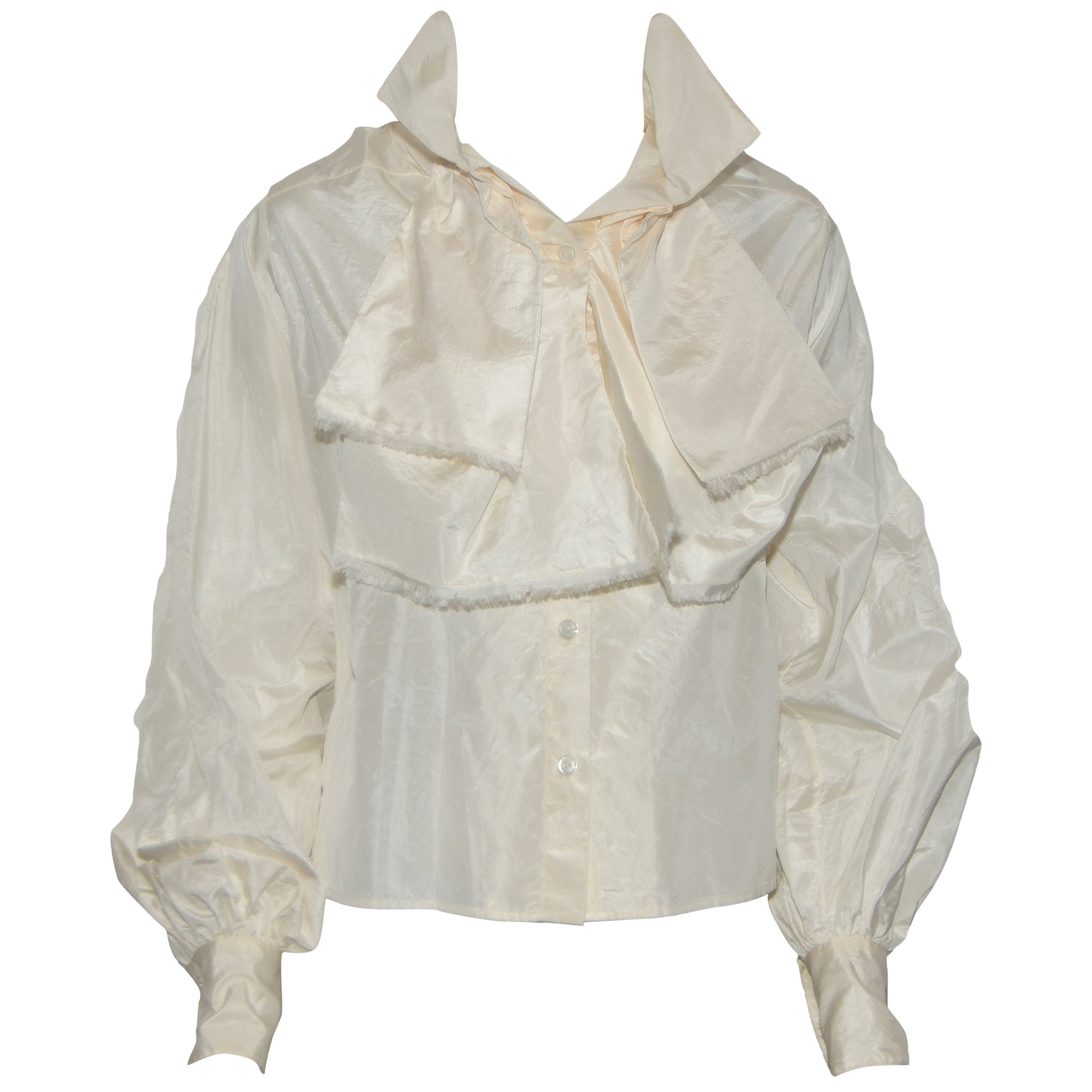 8f81bd575e Chanel Ivory Silk Shantung Blouse For Sale at 1stdibs