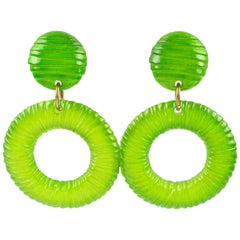 Oversized Lucite Clip on Earrings Apple Green Donut Hoop with Texture