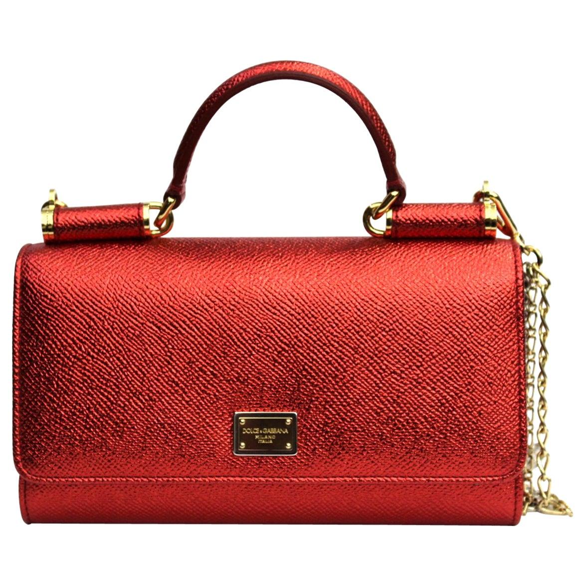 Dolce & Gabbana Red Laminated Leather Mini Von Bag