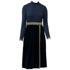 Chester Weinberg 1970s Black Jersey and Velvet Dress