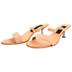 Donna Karan Beige Leather Open Toes Heels. Size B9 (US)