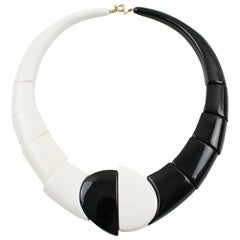 Art Deco Revival Auguste Bonaz Style Bi-Color Resin Geometric Choker Necklace