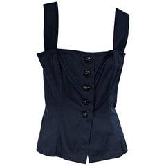 Navy Blue Vintage Yves Saint Laurent Bustier-Style Top