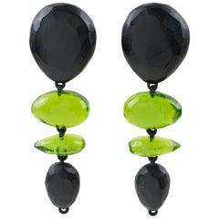 Gerda Lyngaard for Monies Oversized Dangle Clip Earrings Black Olive Green Resin
