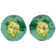 Oversized Italian Luminous Green and Yellow Rock Lucite Clip on Earrings