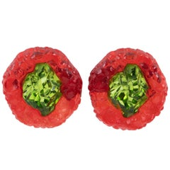 Oversized Italian Luminous Green and Red Rock Lucite Clip on Earrings