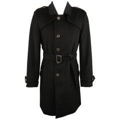 BURBERRY LONDON 38 Black Wool Blend Trenchcoat