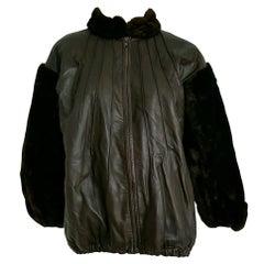 Yves SAINT LAURENT beaver sleeves and neck, lambskin jacket, fur lined - Unworn