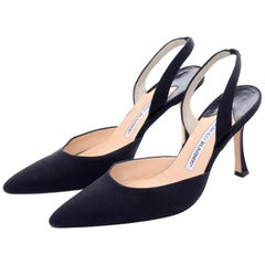 Manolo Blahnik Shoes Carolyne Black Slingback Heels in Size 38.5