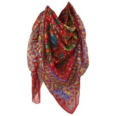 Lanvin Silk Chiffon & Lamé Printed Floral Stole Scarf