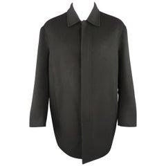 Men's DONNA KARAN M Black Solid Wool / Nylon Hidden Placket Car Coat