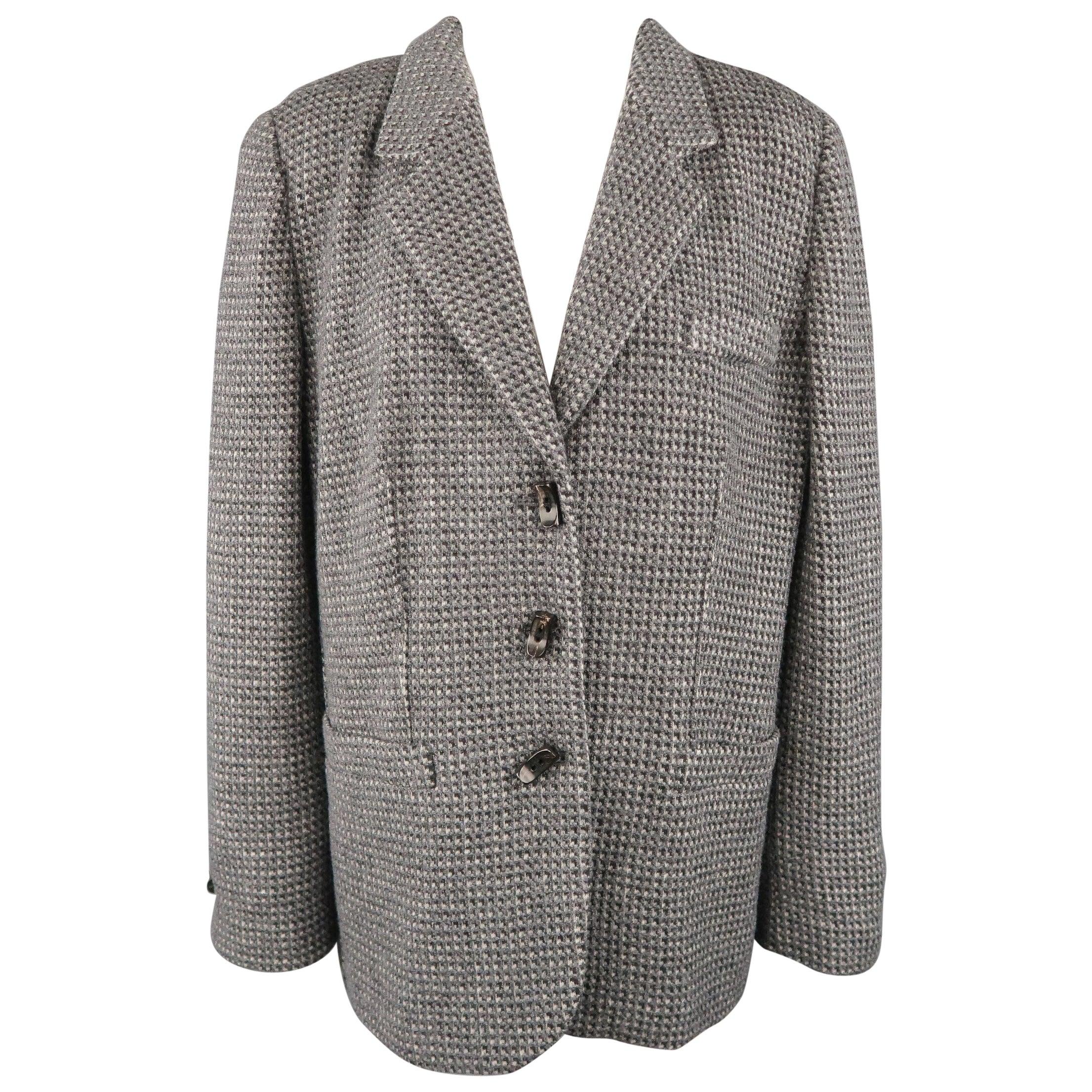 GIORGIO ARMANI Size 16 Grey Textured Wool Blend Notch Lapel Jacket