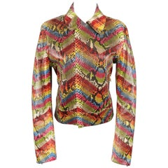 ROBERTO CAVALLI Size S Rainbow Chevron Python Skin Jacket
