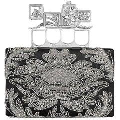 Alexander McQueen Embroidered Silk Poppy Cage Knuckle Box Clutch