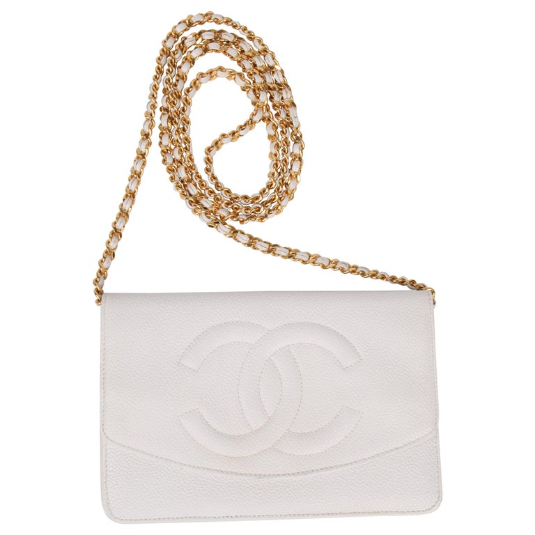 1323180610b1 Chanel Vintage WOC Wallet on Chain - white gold For Sale at 1stdibs