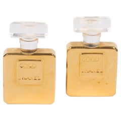 Chanel Vintage Perfume Bottle Earrings - gold