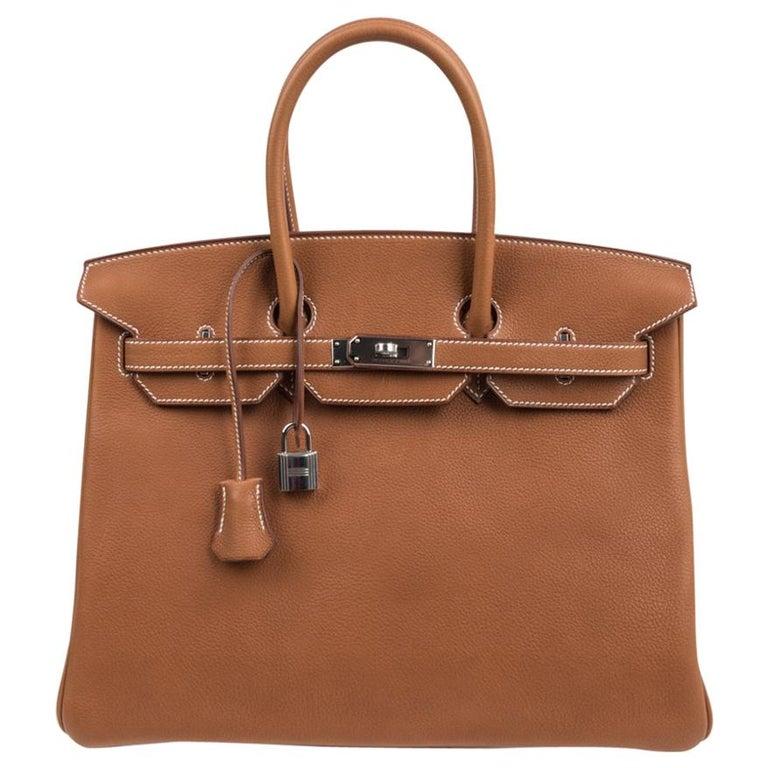 Hermes Birkin 35 Bag Very Rare Barenia Faubourg Palladium Ultimate Neutral  For Sale