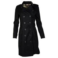 Burberry Black Double Breasted Sandringham Belted Trench Coat & Garment Bag Sz 6