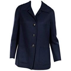 Navy Blue Vintage Hermes Wool Coat