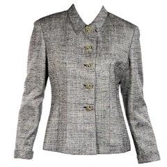 Grey & Black Vintage Valentino Wool Blazer