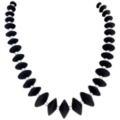 Black Onyx and Crystal Pearly Necklace