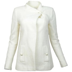 Chanel Spring 2015 Ivory Wrap Jacket W/ Pockets Sz 38