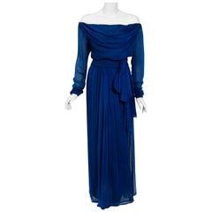 1989 Yves Saint Laurent Haute-Couture Cobalt Blue Silk Off-Shoulder Draped Gown