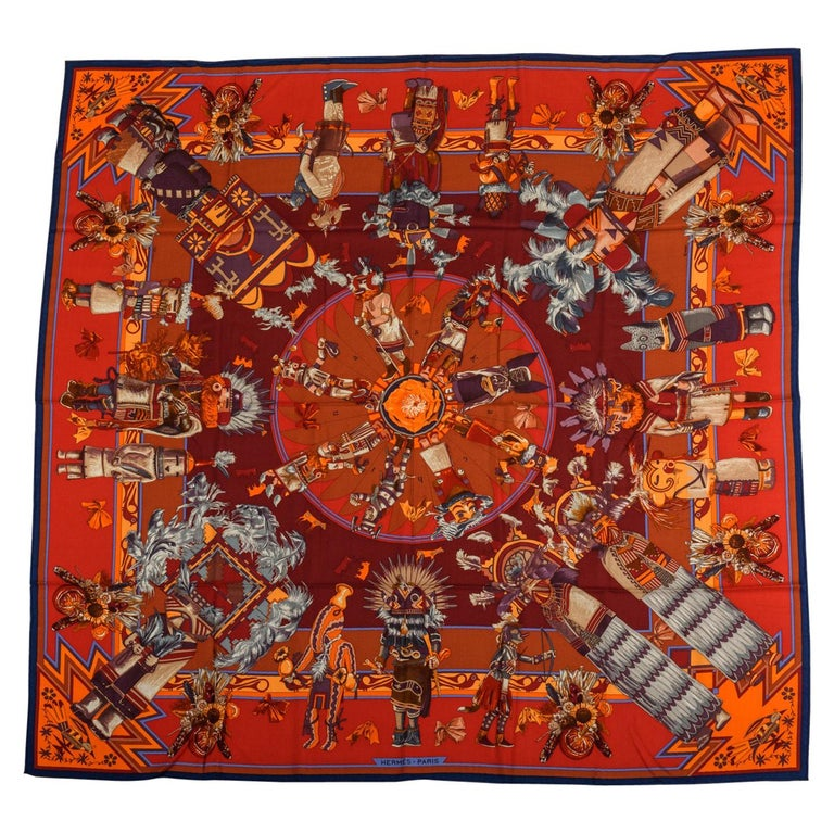Hermes Kachinas Orange Red Cashmere Shawl in Box, Oliver For Sale