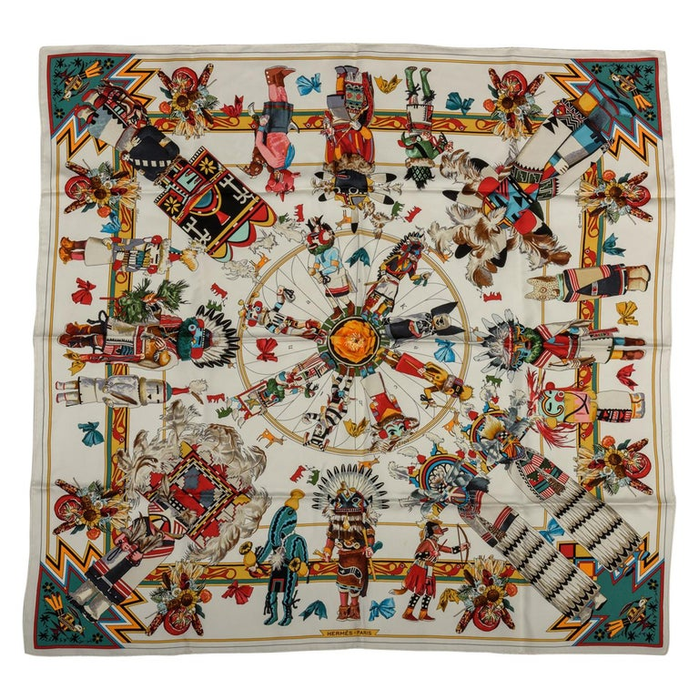 Hermes Kachinas White Silk Scarf by Kermit Oliver For Sale