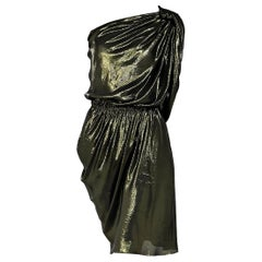 Metallic Green Lanvin Lame One-Shoulder Dress