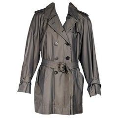 Grey Vintage Yves Saint Laurent Rive Gauche Trench Coat