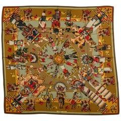 Hermes Brown Kachinas Silk Twill 90cm Scarf