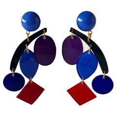 Colorful Modern Mobile Sculpture Statement Earrings