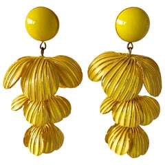 Yellow Modernist Flower Architectural Statement Earrings