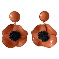 Pink Poppy Statement Drop Earrings