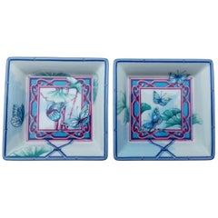 Hermès Set of 2 small Change Tray Ramekins Porcelain Butterflies Garden Rare