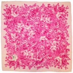 Yves Saint Laurent Silk Pink Roses Scarf