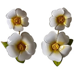 White Daisy Flower Statement Earrings